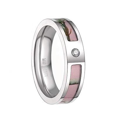 Camo wedding ring with zirconia diamond for women