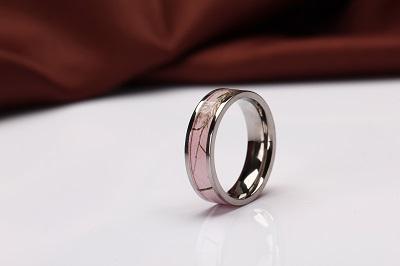 Pink Flat Camo Wedding Ring