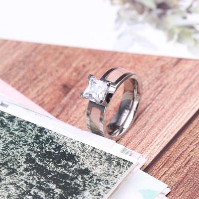 Camo Wedding Ring with CZ Stone